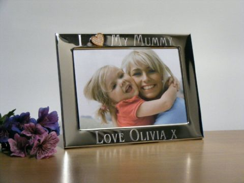 Personalised Gold Heart Photo Frame I Love My Mummy Mothers Day Gift
